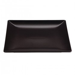 Aardewerk bord vierkant mat zwart 26 cm (12 stuks)