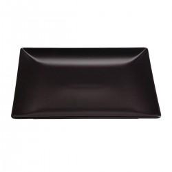Aardewerk bord vierkant mat zwart 18 cm (12 stuks)