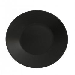 Aardewerk bord rond mat zwart 30 cm (12 stuks)