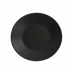 Aardewerk bord rond mat zwart 27,5 cm (12 stuks)