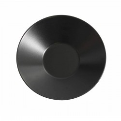 Aardewerk soepbord mat zwart 23 cm (12 stuks)