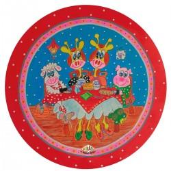 Kinderbord coupe 'pannenkoekenhuis' roze 26,7 cm (6 stuks)