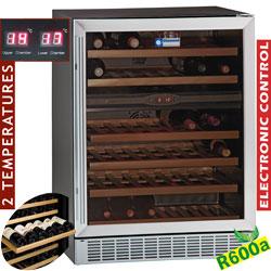 Wijnkast vitrine, geventileerd, 160 Lt., 2temperaturen, BLACK