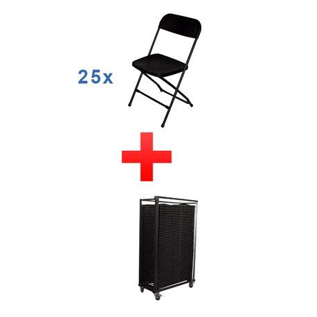 Combi deal C: 25 stoelen + transportkar