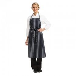 Chef Works Premium geweven schort blauw-wit gestreept