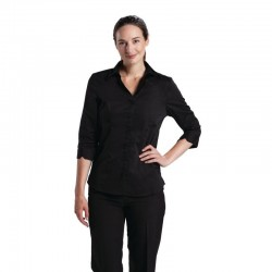 Uniform Works dames stretch shirt zwart XS
