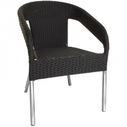 Bolero kunststof rotan stoel zwart