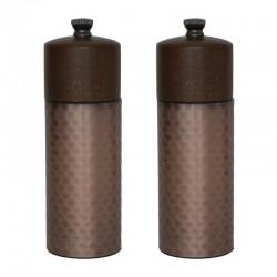 Olympia koperen en houten zout- en pepermolenset 15cm