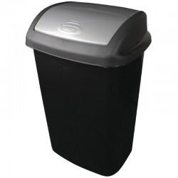 Curver afvalbak met schommeldeksel zwart 50ltr