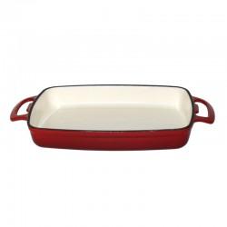 Vogue rechthoekige gietijzeren ovenschaal 1,8ltr rood