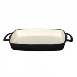 Vogue rechthoekige gietijzeren ovenschaal 1,8ltr zwart
