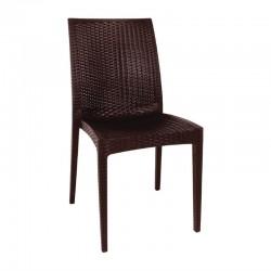 Bolero kunststof rotan stoel zonder armleuning zwart - 4 stuks