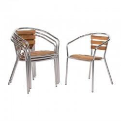 Bolero aluminium en essenhouten stoelen met armleuning