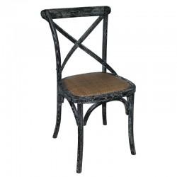 Bolero houten stoel met gekruiste rugleuning black wash 2 stuks