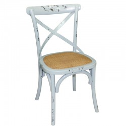 Bolero houten stoel met gekruiste rugleuning antiek blue wash 2 stuks