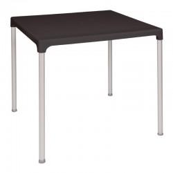 Bolero vierkante zwarte tafel met aluminium poten 75cm