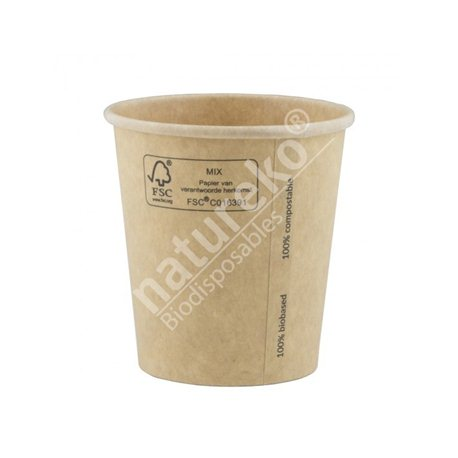 FSC® kraft/PLA koffiebeker 7oz/210ml/73mm 2000 stuks
